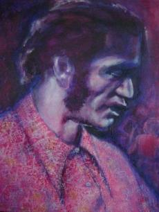 Chuck Berry in concert   acrylic by Morwena Wheatley