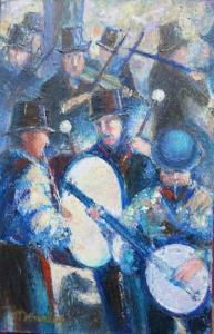 Milenthorpe Morris musicians in oil