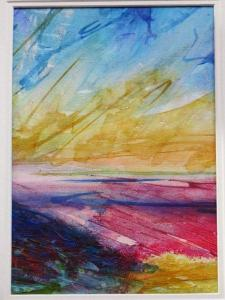 morecambe bay sunset in watercolour